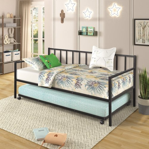 Twin Daybed with Trundle Multifunctional Metal Lounge Daybed Frame for Living Room Guest Room 7