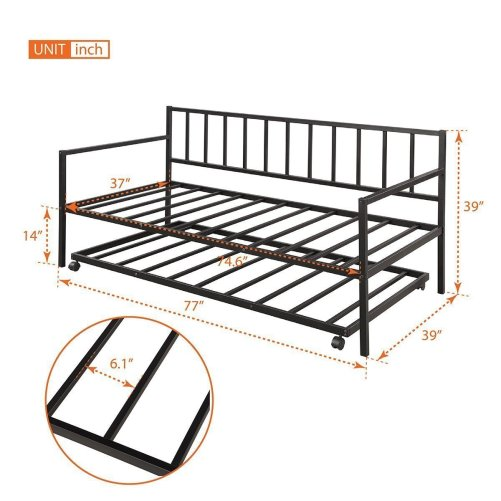 Twin Daybed with Trundle Multifunctional Metal Lounge Daybed Frame for Living Room Guest Room 6