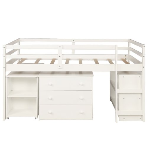 Low Study Twin Loft Bed with Cabinet and Rolling Portable Desk 6