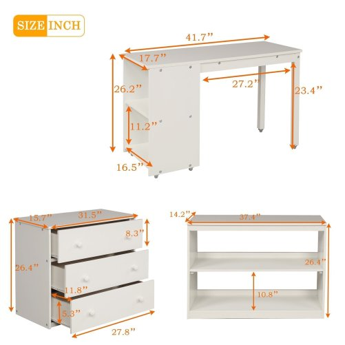 Low Study Twin Loft Bed with Cabinet and Rolling Portable Desk 5