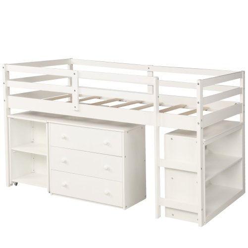 Low Study Twin Loft Bed with Cabinet and Rolling Portable Desk 12