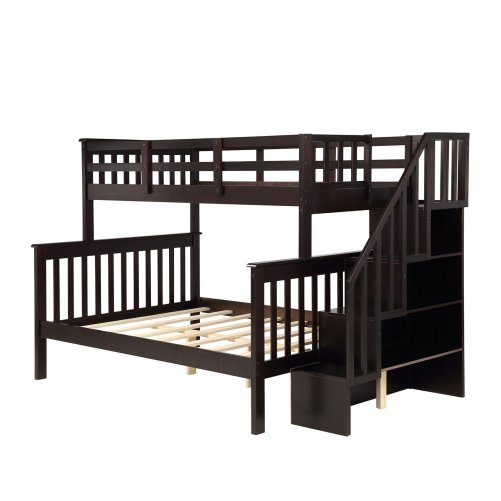 Stairway Twin-Over-Full Bunk Bed with Storage and Guard Rail 20