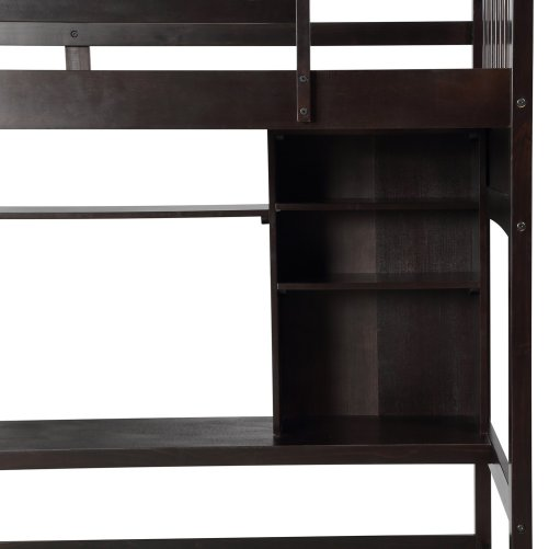 Twin size Loft Bed with Storage Shelves, Desk and Ladder 14