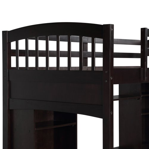 Twin size Loft Bed with Storage Shelves, Desk and Ladder 16