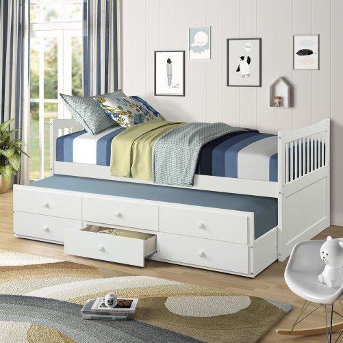 Bed with Trundle and 3 Storage Drawers 1