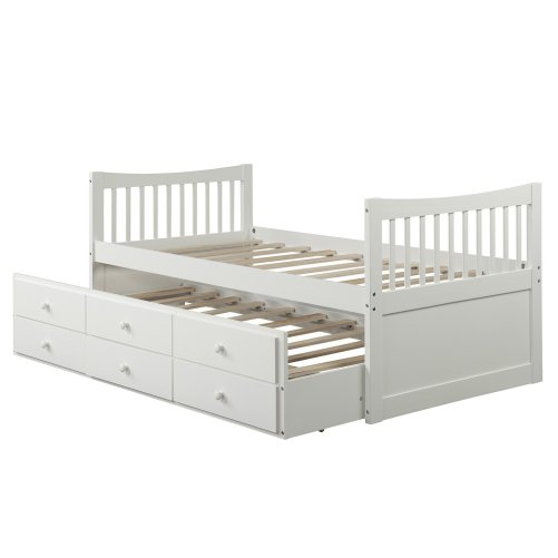 Bed with Trundle and 3 Storage Drawers 3