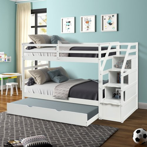 Twin-Over-Twin Trundle Bunk Bed with 4 Storage Drwers 1