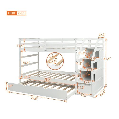 Twin-Over-Twin Trundle Bunk Bed with 4 Storage Drwers 2