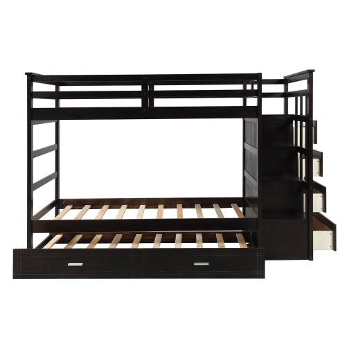 Solid Wood Bunk Bed for Kids, Hardwood Twin Over Twin Bunk Bed with Trundle and Staircase 14