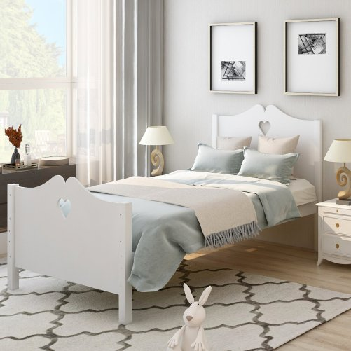 Bed Frame Twin Platform Bed with Wood Slat Support and Headboard and Footboard 2