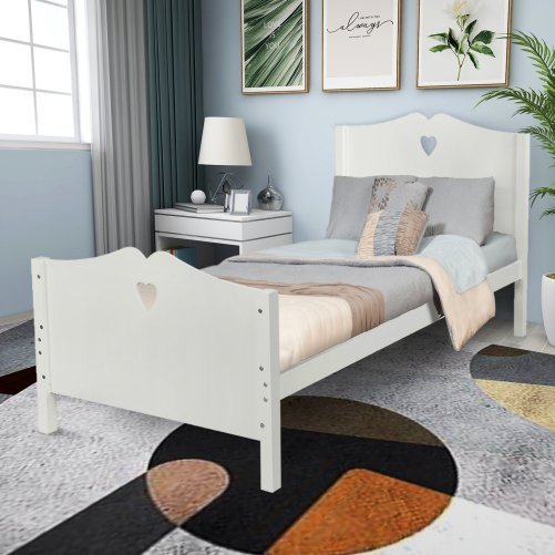 Bed Frame Twin Platform Bed with Wood Slat Support and Headboard and Footboard 11