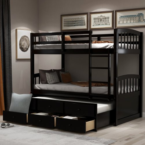 Twin Bunk Bed with Ladder, Safety Rail, Twin Trundle Bed with 3 Drawers for Kids 18