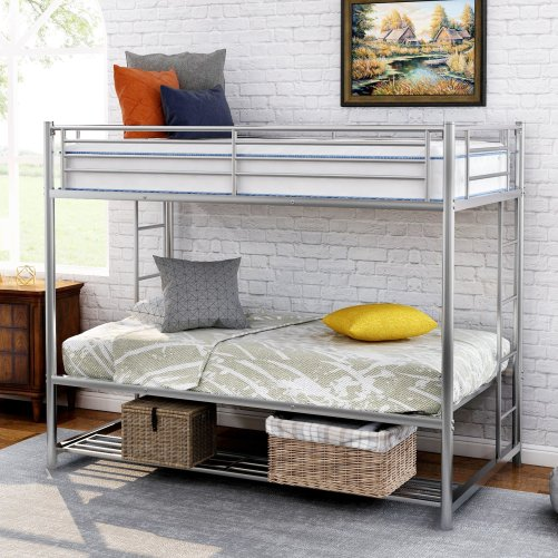Twin over twin bunk bed with storage 1