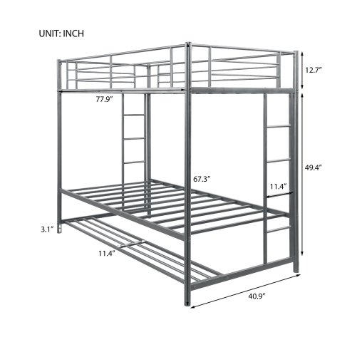 Twin over twin bunk bed with storage 7