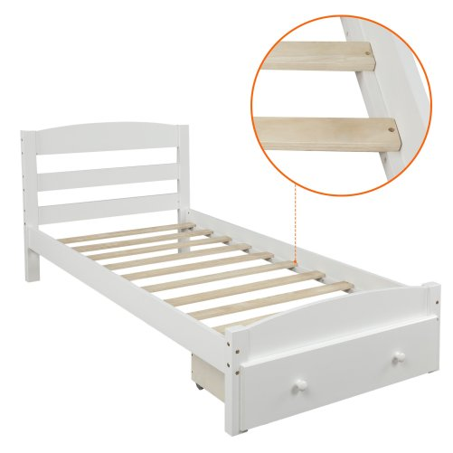 Platform Twin Bed Frame with Storage Drawer and Wood Slat Support 6