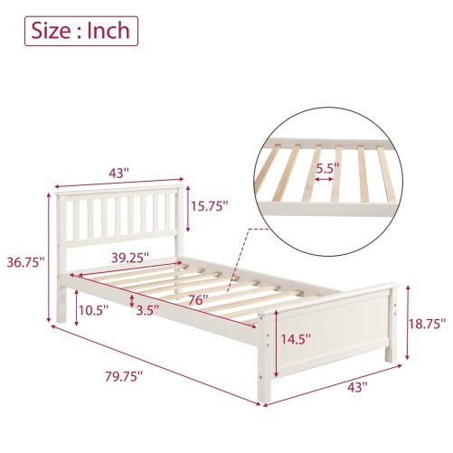 Wood Platform Bed with Headboard,Footboard and Wood Slat Support 7