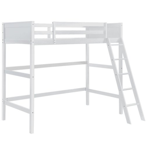 Solid Wood Loft Bed Panel Style Loft Bed,Side Angled Ladder 4