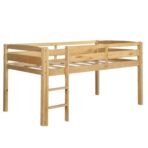 Twin Wood Loft Bed Low Loft Beds for Kids with Ladder 8