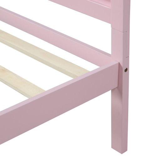 Wood Platform Bed Twin Bed Frame Mattress Foundation with Headboard and Wood Slat Support 10
