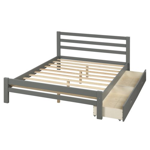 Wood Platform Bed With Two Drawers, Full Size 5