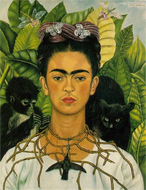 Self-Portrait-with-Thorn-Necklace-and-Hummingbird-by-Frida-Kahlo