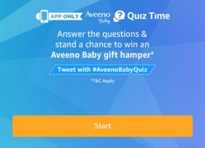 Amazon Aveeno Baby Quiz - Answer & Win Hampers Worth Rs 2 Lakhs