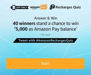 (All Answers)Amazon Recharges Quiz-Win Rs.5000 amazon Pay balance