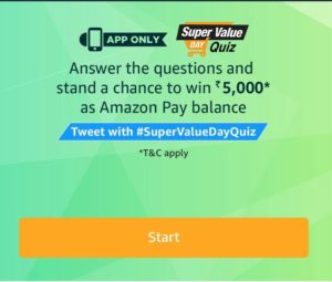 (All Answers)Amazon Super Value day Quiz – Answer & Win Rs 5000