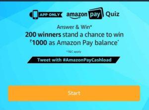 (All Answers) Amazon Pay Quiz-Answer & Win Rs.1000 Amazon Pay Balance