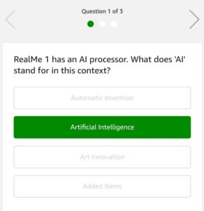 Amazon Realme Levels - Answer & win Realme Smartphone