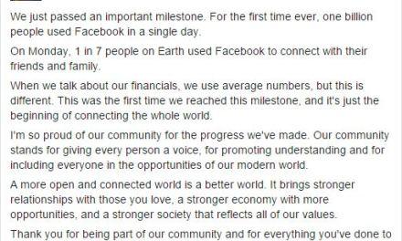 Facebook da record: un miliardo di utenti connessi in un solo giorno
