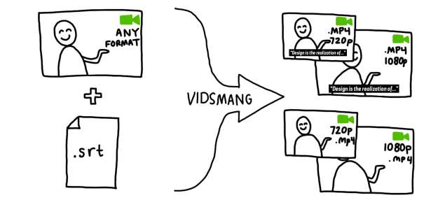"a flowchart showing two icons passing through an arrow that says ""vidsmang"" and resulting in four icons"