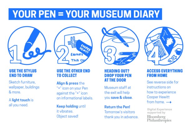 Detail of instructional postcard now available to museum visitors at entry to accompany The Pen.