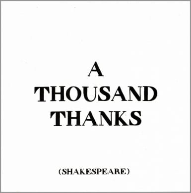 Thank You Greeting Card - A Thousand Thanks Shakespeare