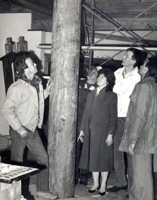 TIMES-SHAMROCK ARCHIVES Jim Clarke, Angelo Sulla, Jerry Maus, and Angela and Jack Cooper check out the interior mast at Cooper's Seafood House in Scranton in March 1987. The mast was part of the new ship-shaped addition being built at the restaurant.