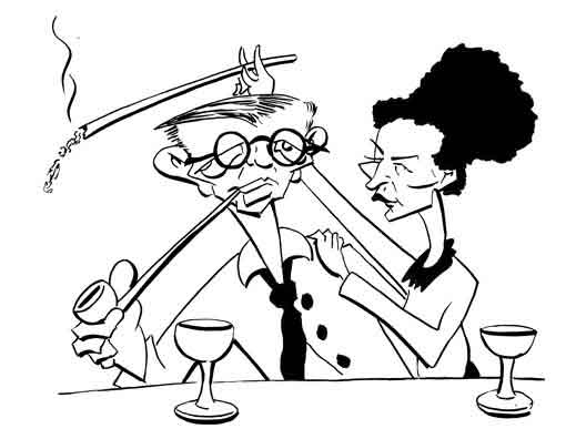 Image result for Sartre and de Beauvoir cartoon