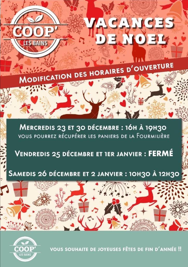 Modifications des horaires d'ouverture Mercredis 23 et 30 décembre : 16h à 19h30 Vendredis 25 décembre et 1er janvier : FERMÉ Samedis 26 décembre et 2 janvier : 10h30 à 12h30 Joyeuses fêtes de fin d'année