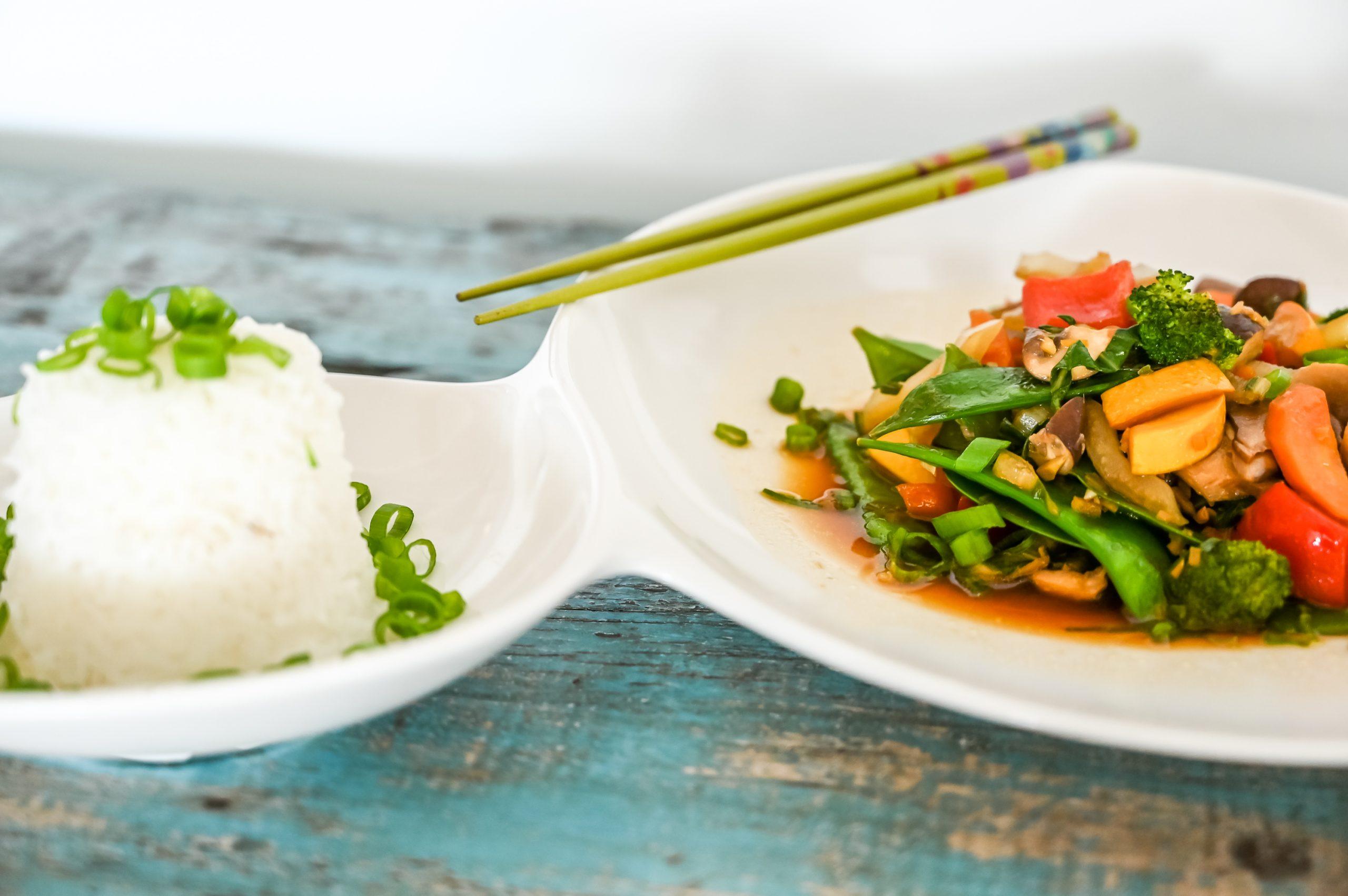 Wok Gemüse und Reis