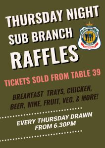 Thursday Night- Sub Branch Raffles @ Cooroy RSL