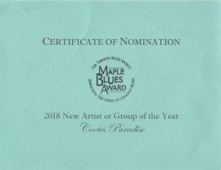 Maple Blues Award Nomination Certificate