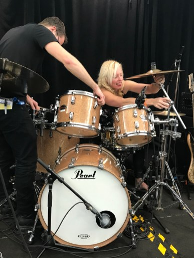 Amy setting up for our Blues Summit 9 Showcase