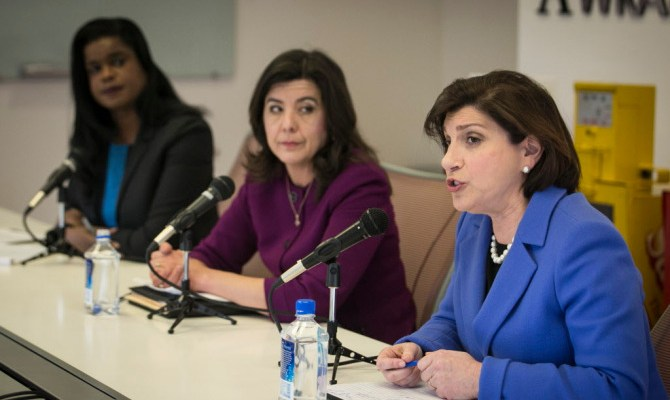 Cook County State's Attorney Anita Alvarez (center) and her opponents in the March 15 Democratic primary election, Kim Foxx (left) and Donna More, debate before the Chicago Sun-Times Editorial Board, Friday, Feb. 5, 2016. | Ashlee Rezin/Sun-Times