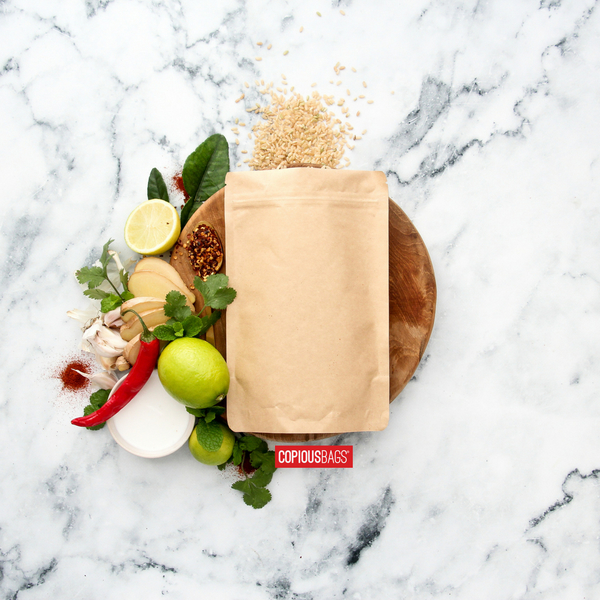 8 oz stand up barrier pouch bags kraft