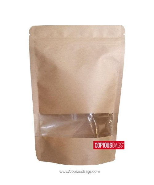4 oz Kraft Stand Up Pouches with Window 5×8 : 140 g