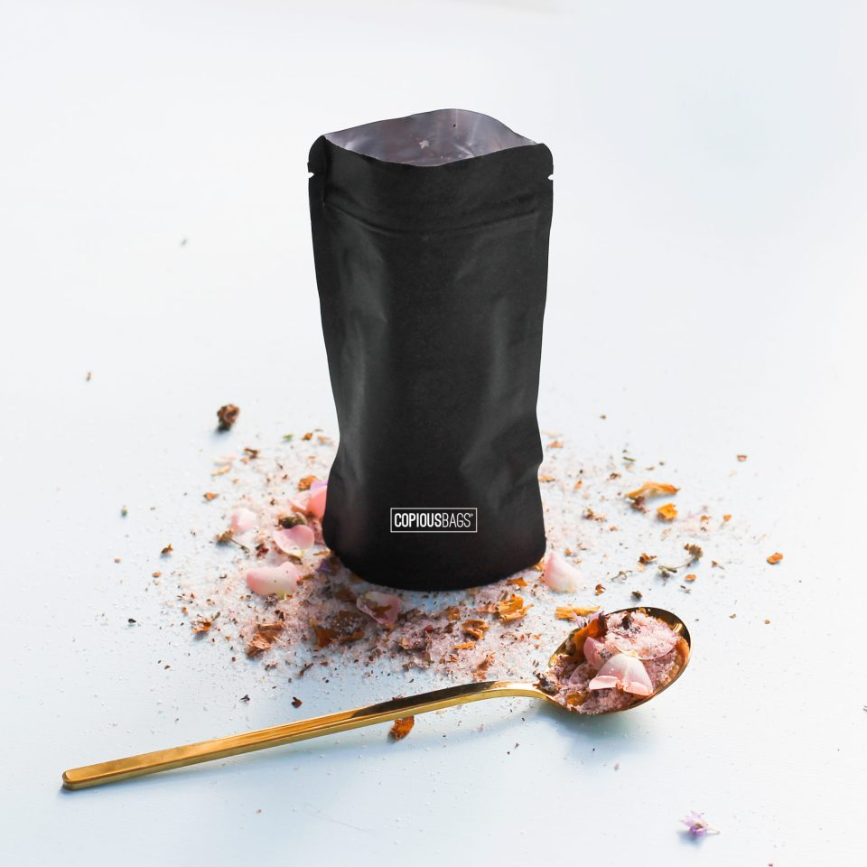 Black Kraft Stand Up Zipper Pouch Bag – Bath and body packaging – bath salts packaging – Copious Bags