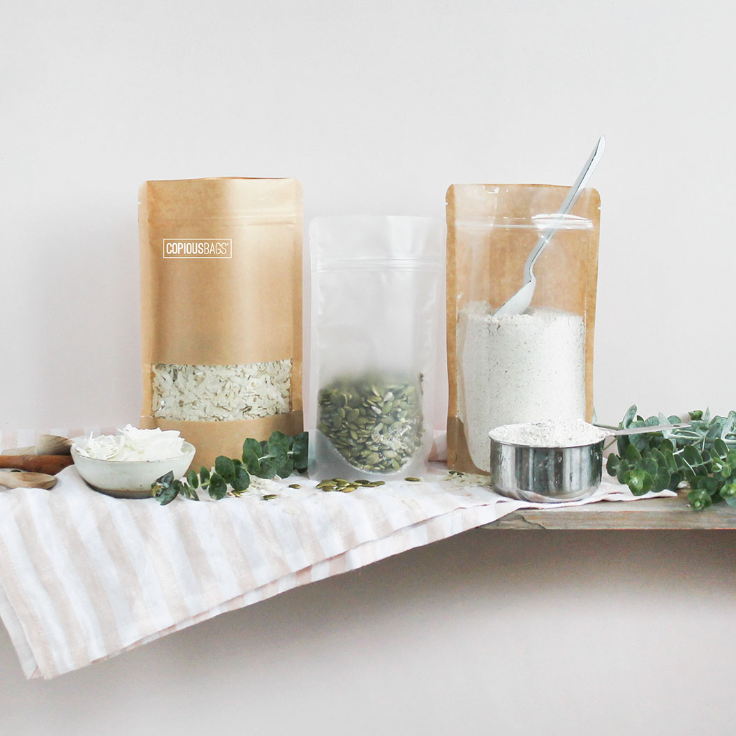 kraft stand up pouches with window - window bags - stand up pouches - Copious Bags
