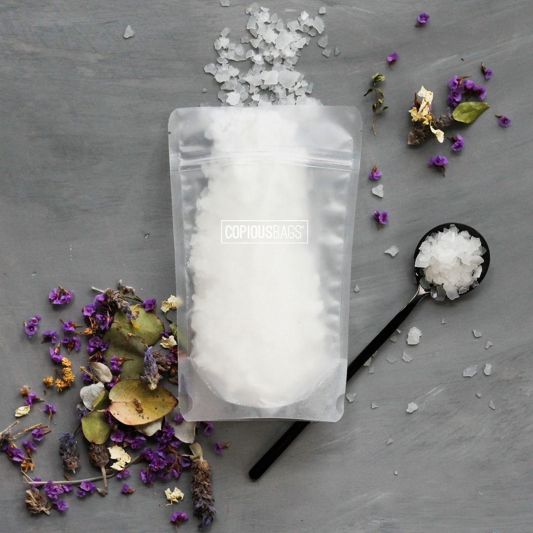 8 oz matte frost stand up pouch | bath salt packaging bags - Copious Bags