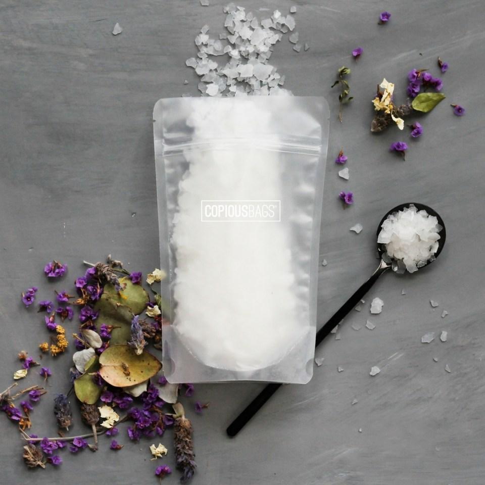 8 oz matte frost stand up pouch | bath salt packaging bags – Copious Bags