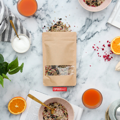 kraft stand up pouches with window - seed packaging bags