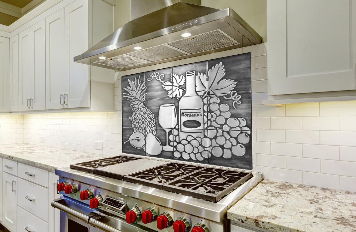 Stainless Steel Backsplash Still Life Grapes Pineapples Wine Pear Tiles